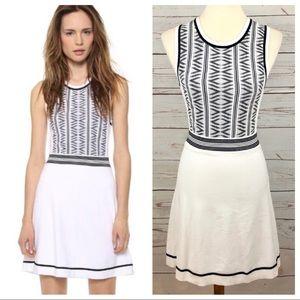 Rag & Bone White & Black Geometric Knit Dress